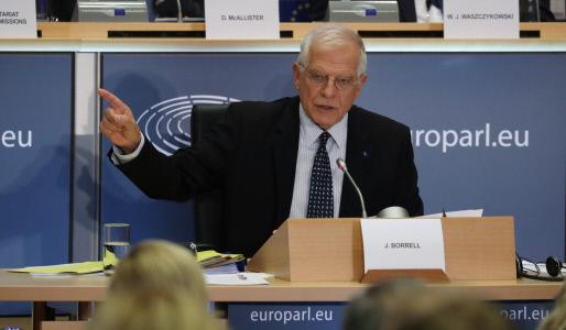 JOSEP BORRELL ASISTE A UNA AUDIENCIA EN EL PARLAMENTO EUROPEO EN BRUSELAS
