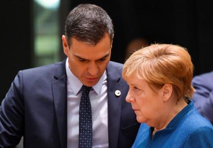 PEDRO SÁNCHEZ Y ANGELA MERKEL EN LA CUMBRE EUROPEA