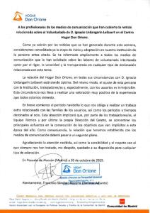 COMUNICADO DE PRENSA HOGAR DON ORIONE