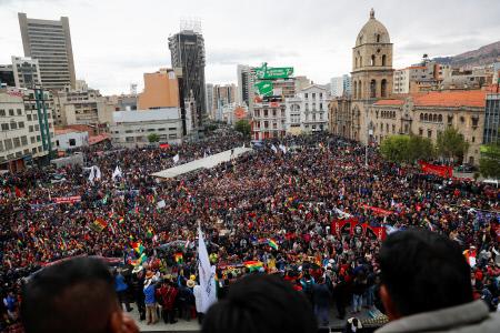 MILES DE PARTIDARIOS DE EVO MORALES SE CONCENTRAN EN LA PAZ, BOLIVIA