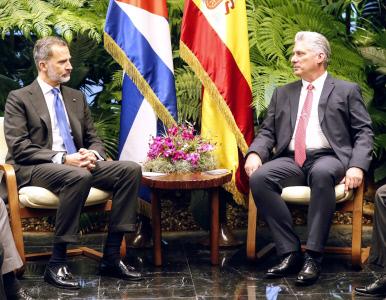 EL REY FELIPE VI SE REUNE CON EL PRESIDENTE DE CUBA EN EL PALACIO DE LA REVOLUCION EN LA HABANA