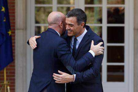 PEDRO SANCHEZ RECIBE AL PRESIDENTE ELECTO DEL CONSEJO EUROPEO