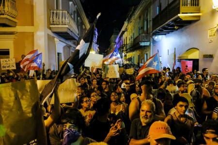 CUARTO DIA DE PROTESTAS EN PUERTO RICO PARA PEDIR LA DIMISIÓN DEL GOBERNADOR, RICARDO ROSSELLO