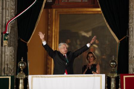 EL PRESIDENTE DE MEXICO ANDRES MANUEL LOPEZ OBRADOR CELEBRA DIA DE LA INDEPENDENCIA